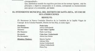 Reconocimiento Comision Capilla Virgen de Caacupe
