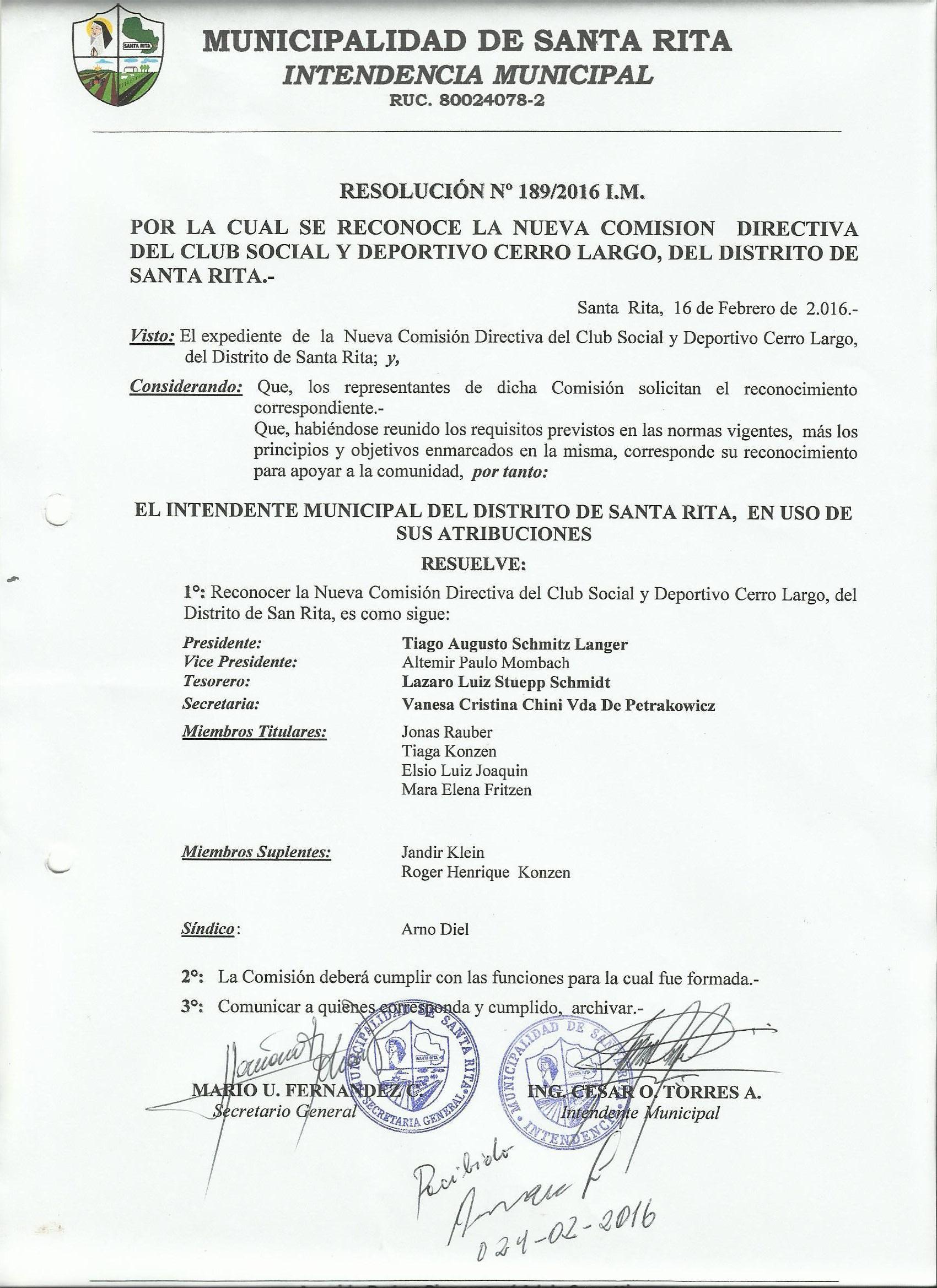 Reconocimiento Comision Club Social Deportivo Cerro Largo