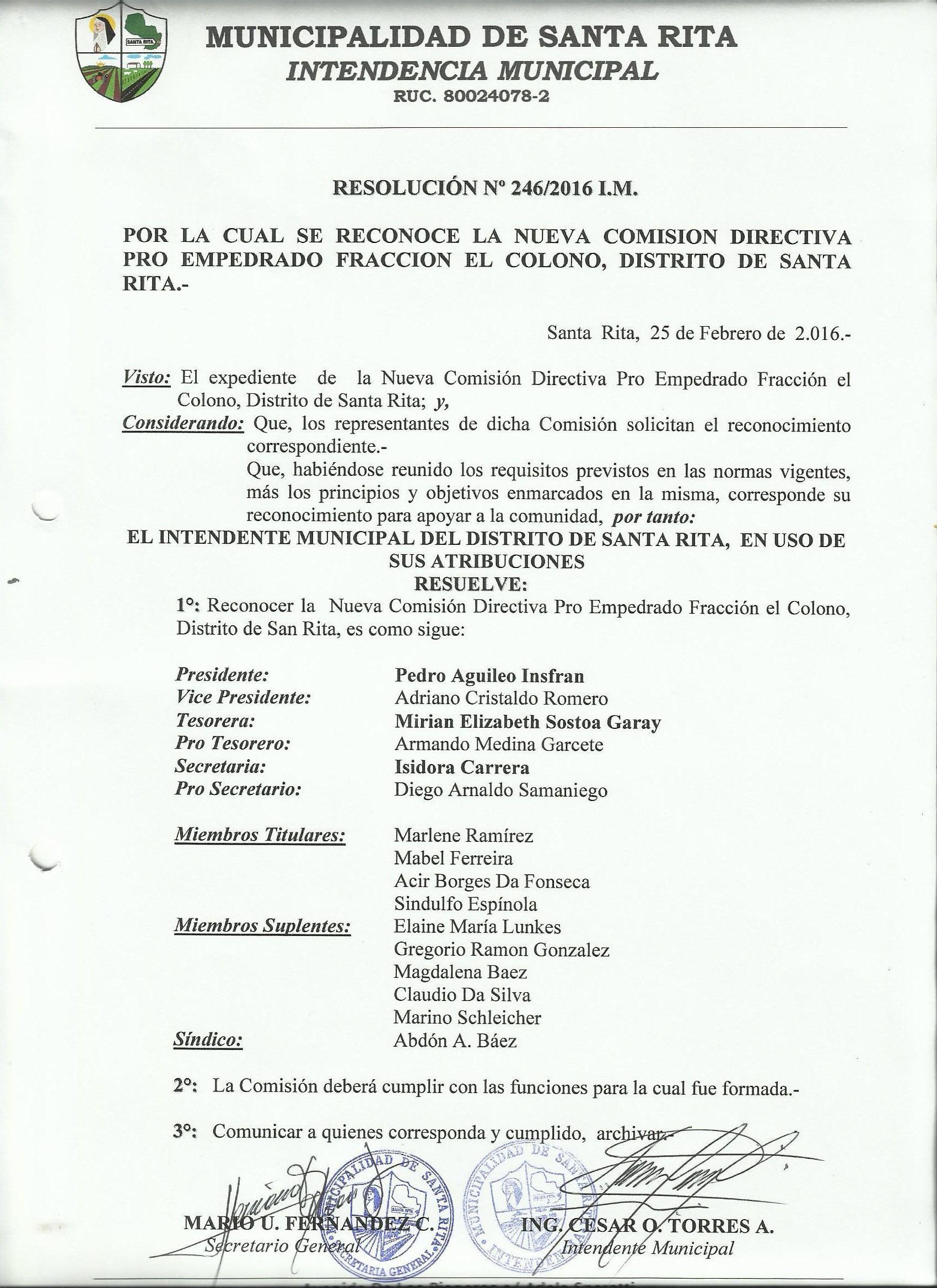 Reconocimiento Comision Fraccion El Colono