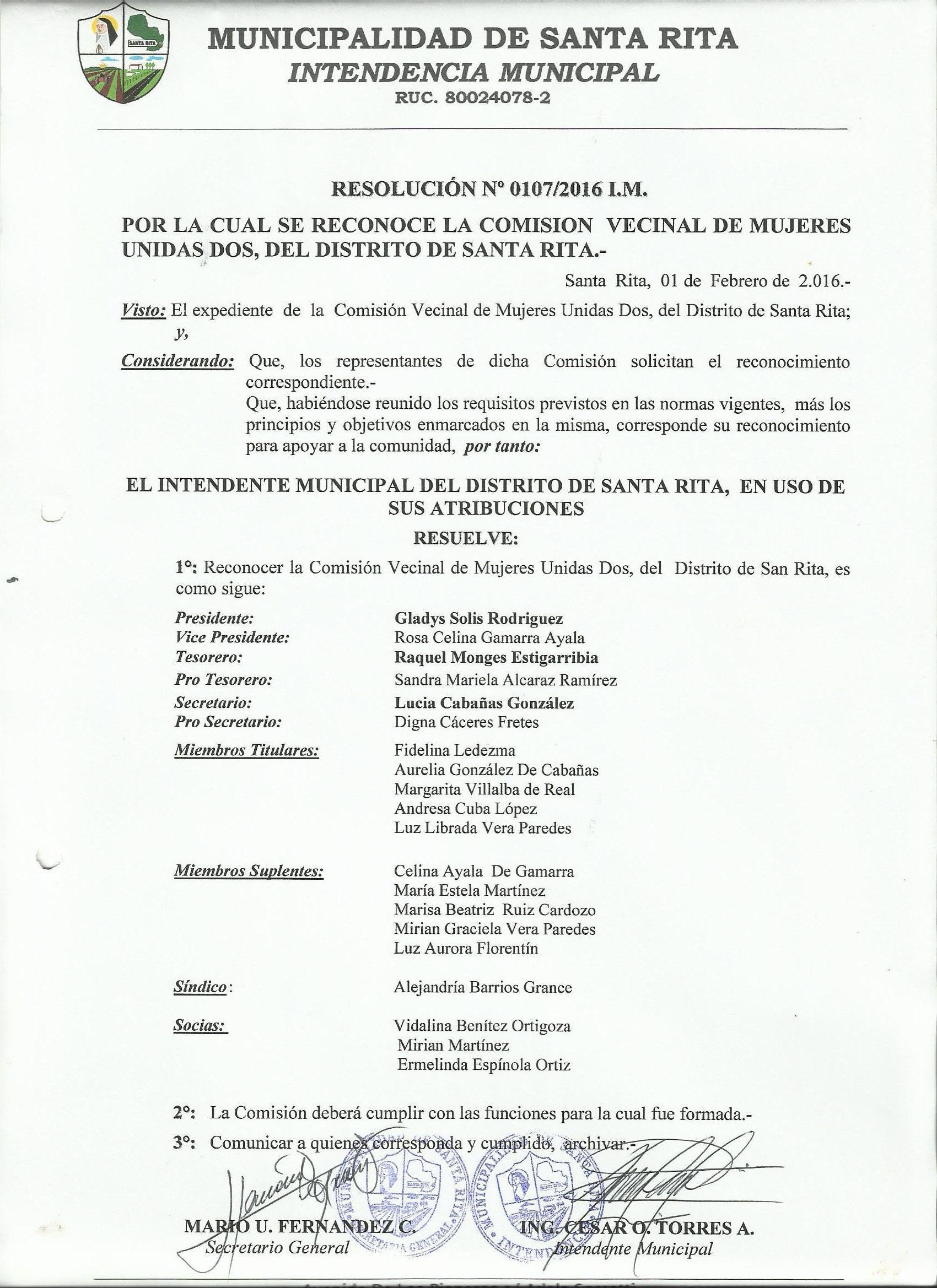 Reconocimiento Comision Mujeres Unidas Dos